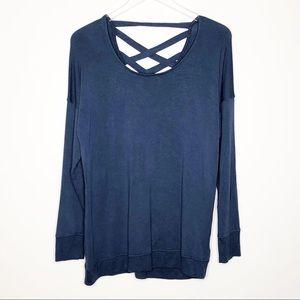 Athleta | Blue Cross Back Sweatshirt Tunic Size S